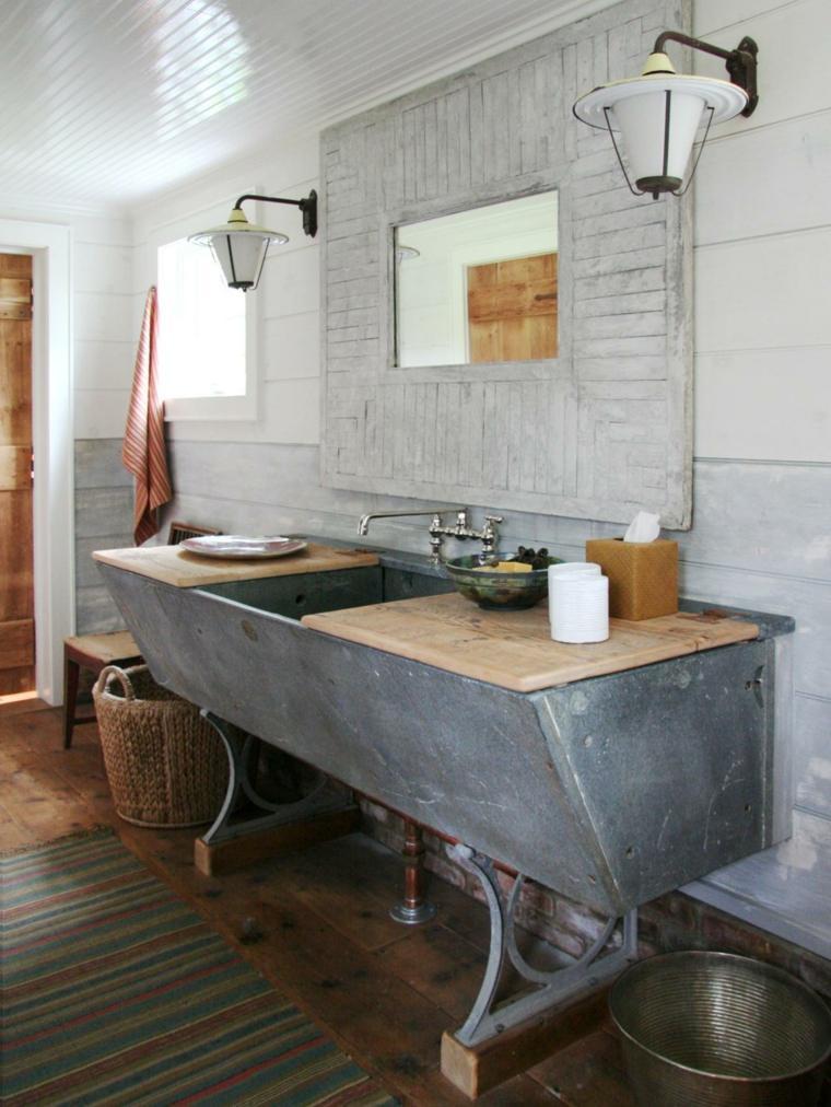 lavabo acero madera diseno original ideas