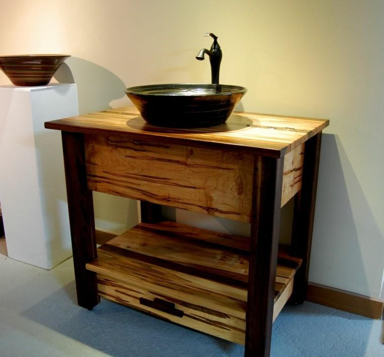 lavabo rustico bano original estanteria abierta ideas