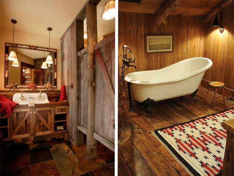 lavabos rústicos banos alfombra detalles ideas