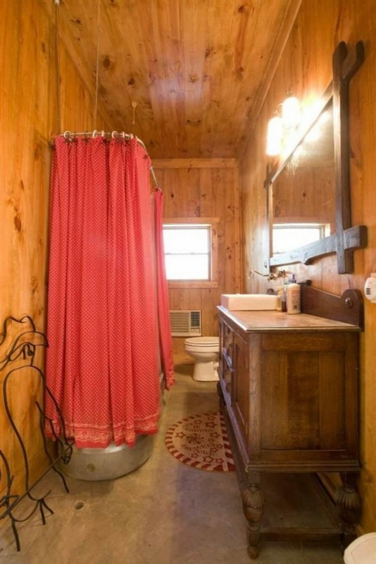 lavabos rústicos banos banera cortina roja ideas