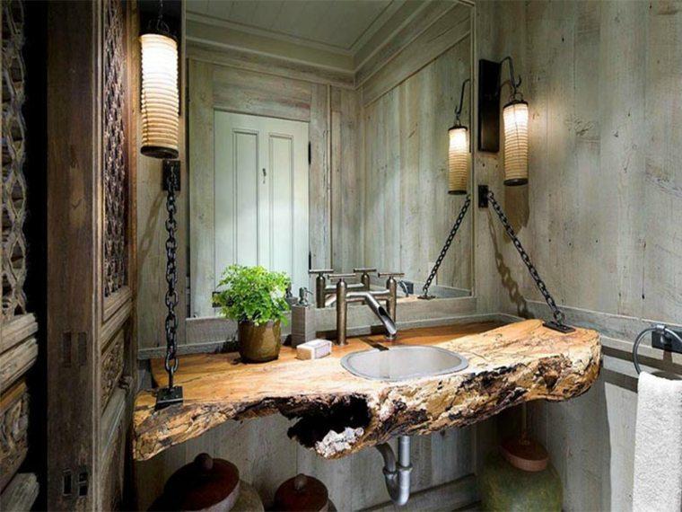 lavabos rústicos banos cadenas acero negras ideas
