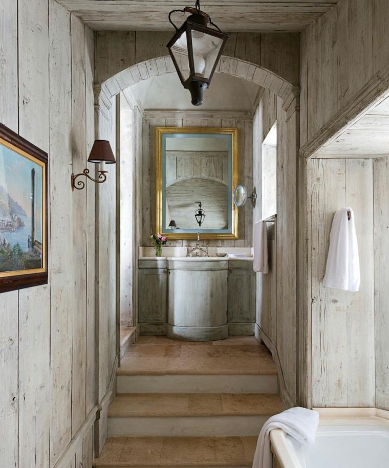lavabos rústicos banos color gris madera ideas
