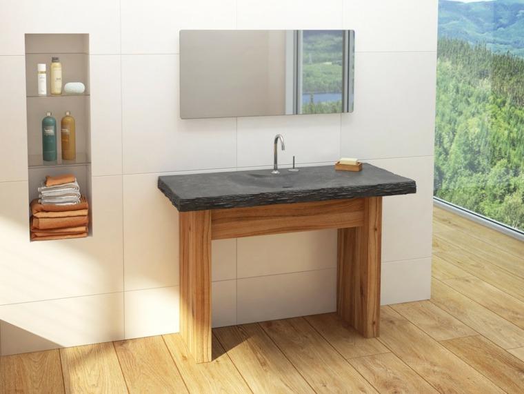 lavabos rústicos banos encimera piedra negra ideas