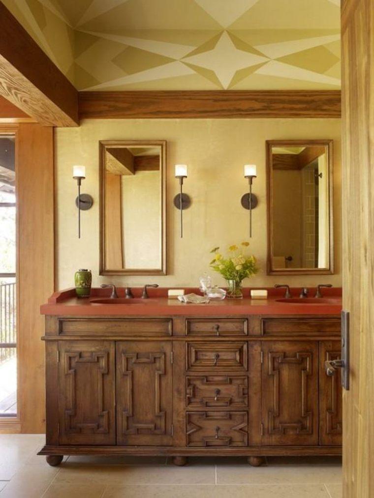 lavabos rústicos banos encimeras rojas ideas
