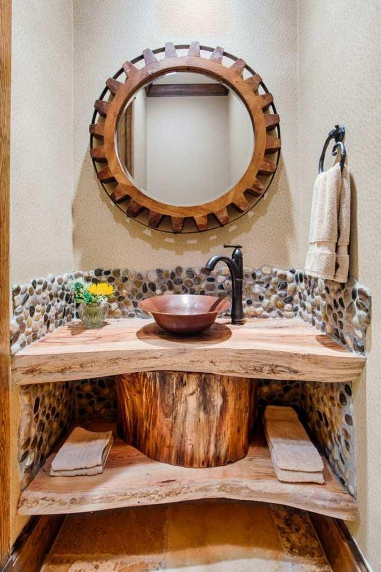 lavabos rusticos banos espacio estrecho ideas