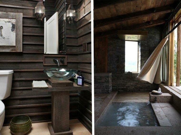 lavabos rusticos banos madera cristal ideas