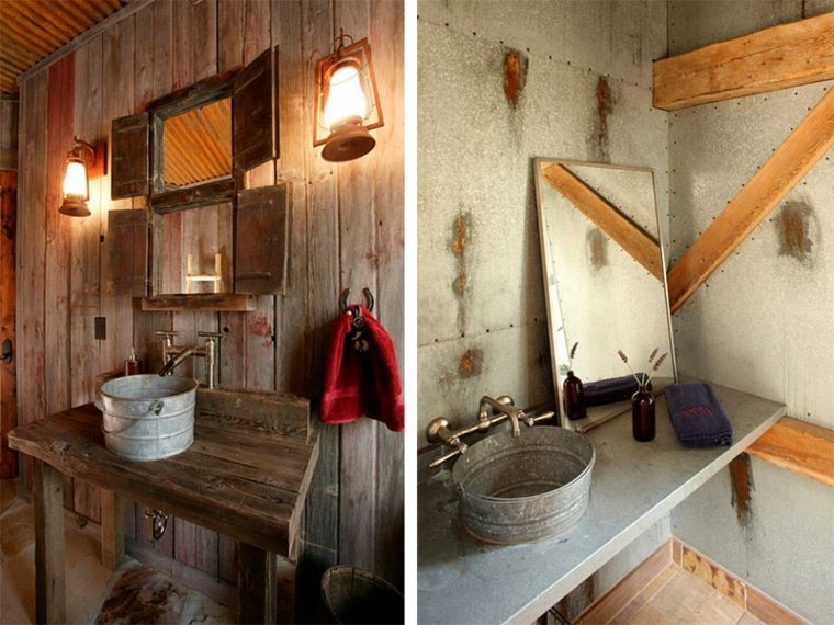 lavabos rusticos banos madera cubo ideas