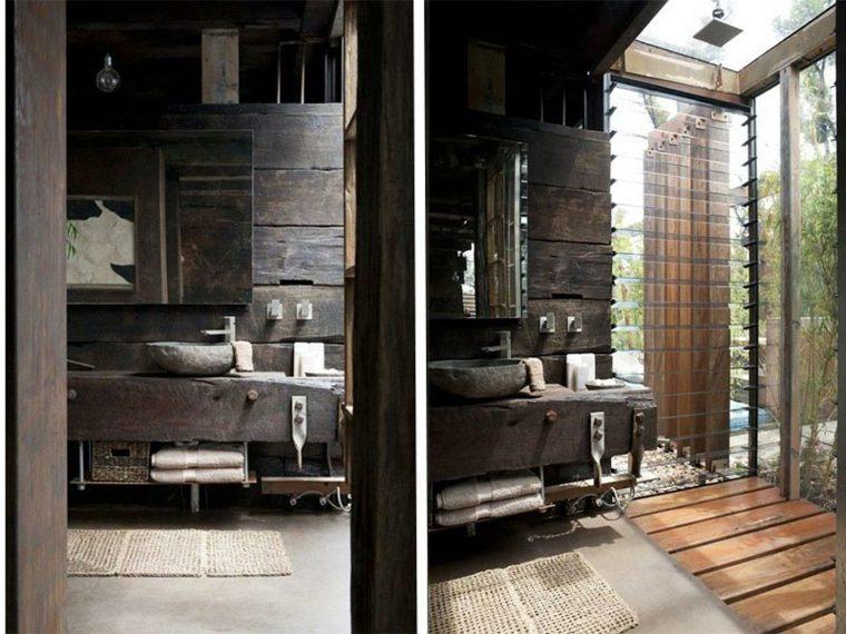 lavabos rusticos banos madera oscura ideas