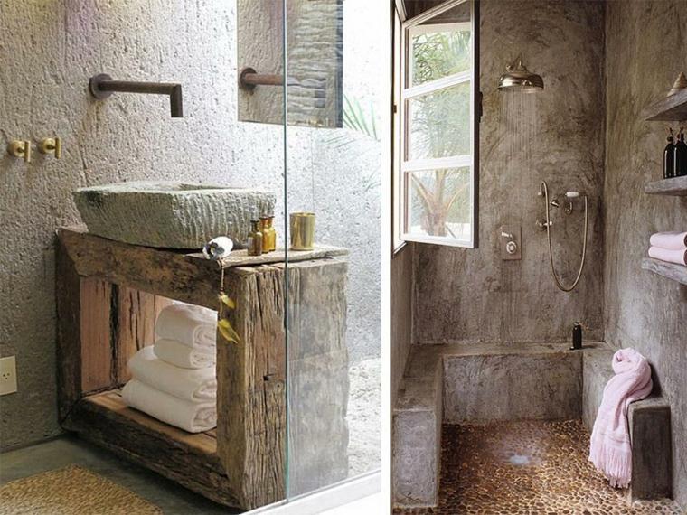 Lavabos r sticos ideas para cada tipo de ba o for Duchas rusticas piedra