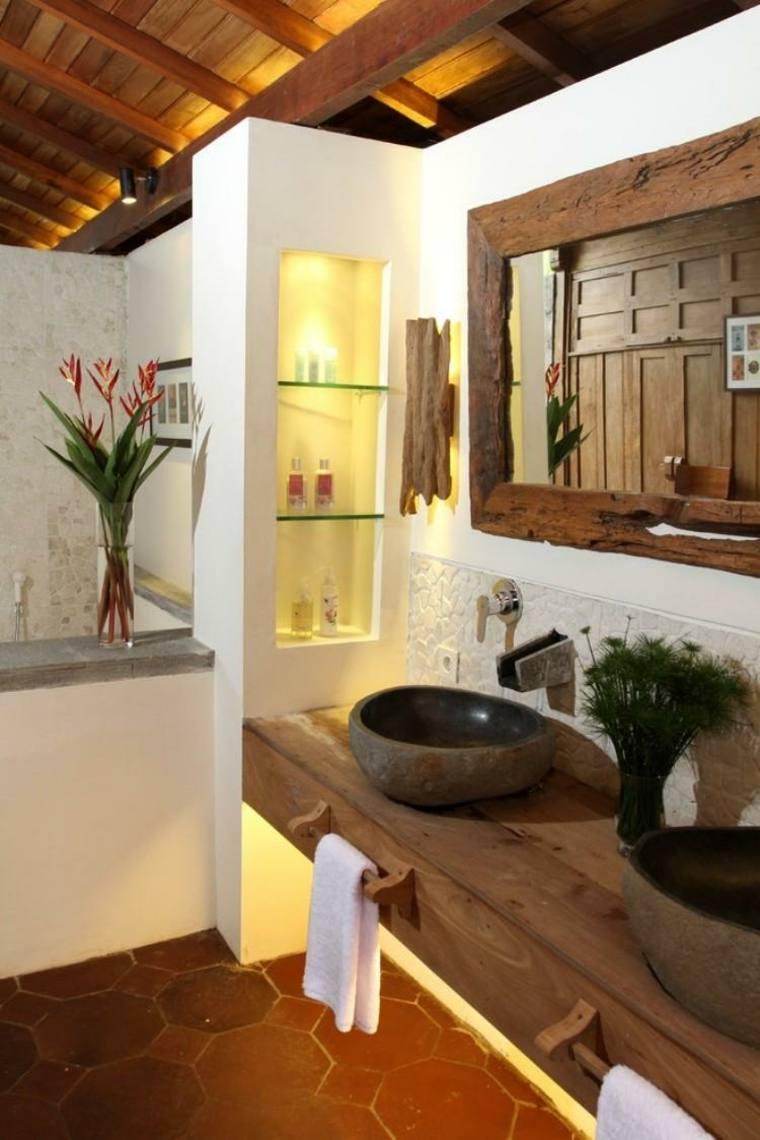 lavabos rusticos banos madera piedra ideas