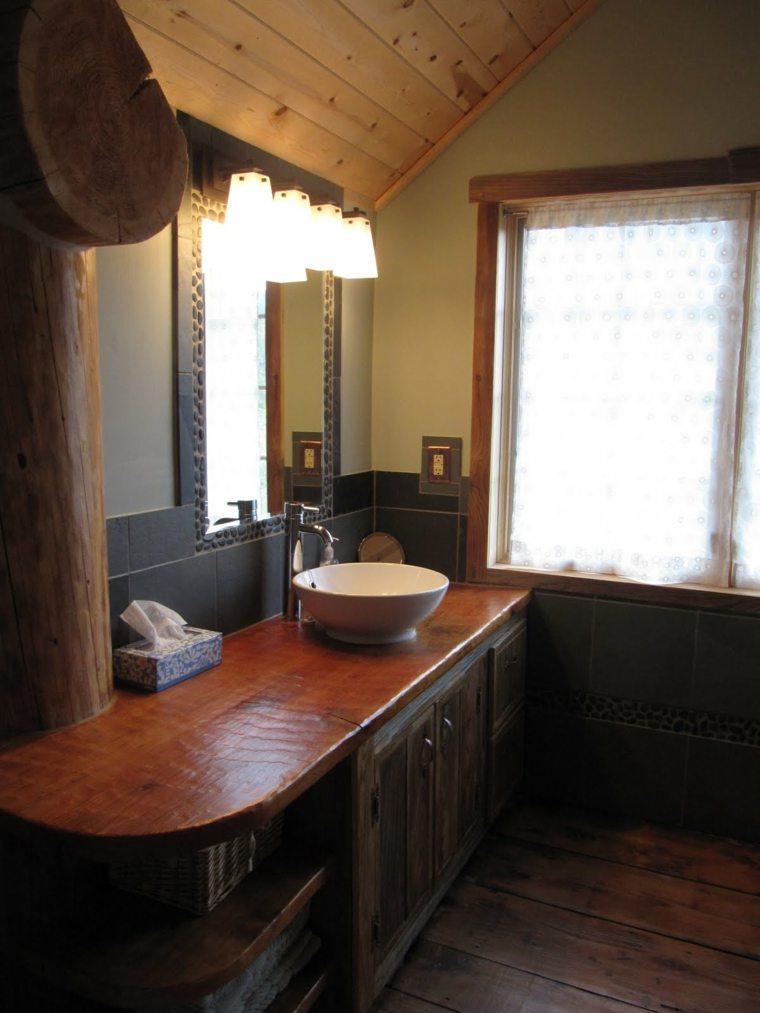lavabos rusticos banos marco espejo piedras ideas