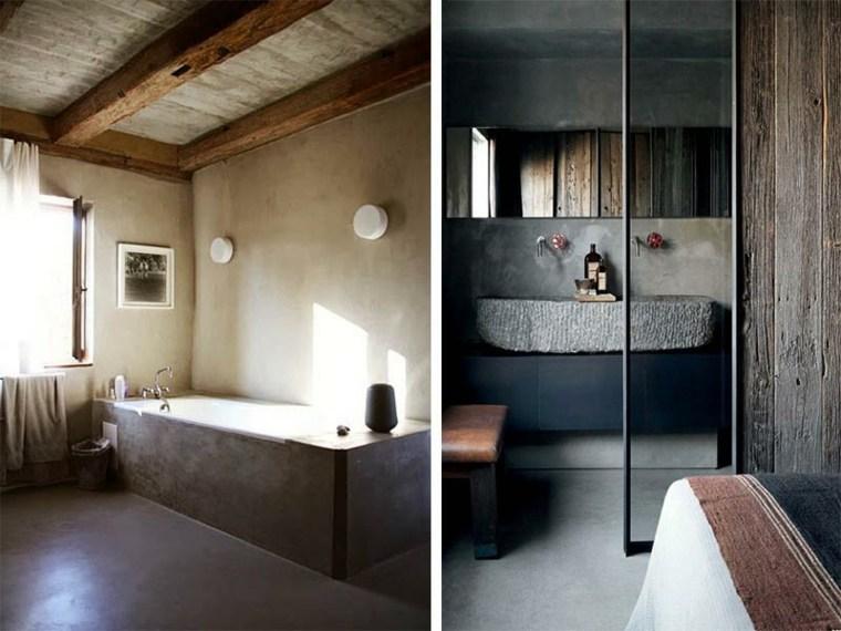 lavabos rusticos banos piedra banera negra ideas