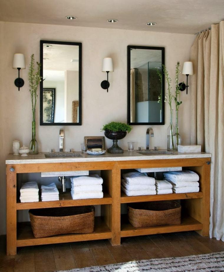 lavabos rusticos opciones guardar toallas bano ideas