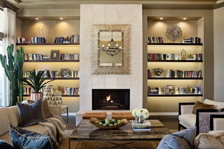 librerias de salon elegantes tonos contemporaneas obra