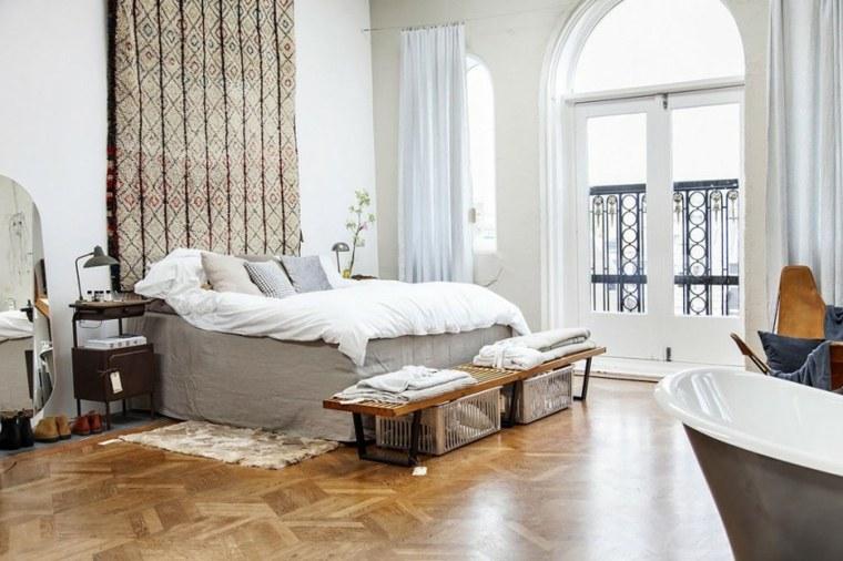 loft moderno banco madera banera cestos ideas