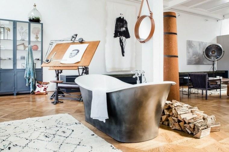 loft moderno banera negra chimenea bonita ideas