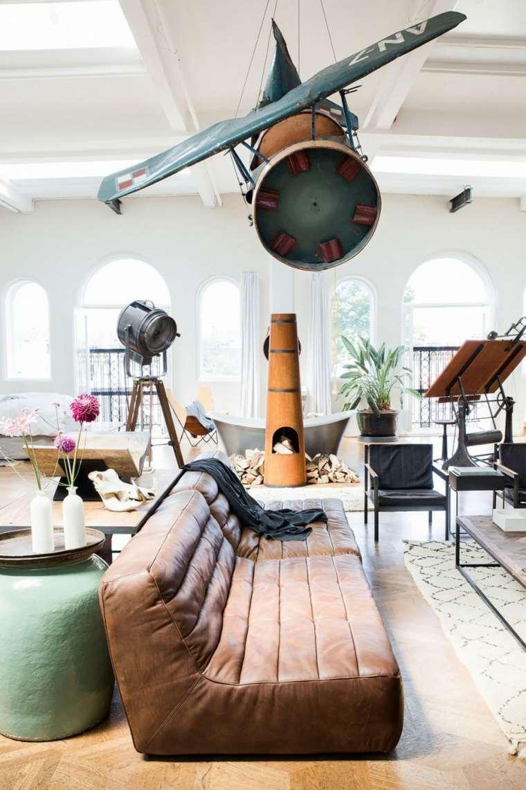 loft moderno plantas banera chimenea ideas