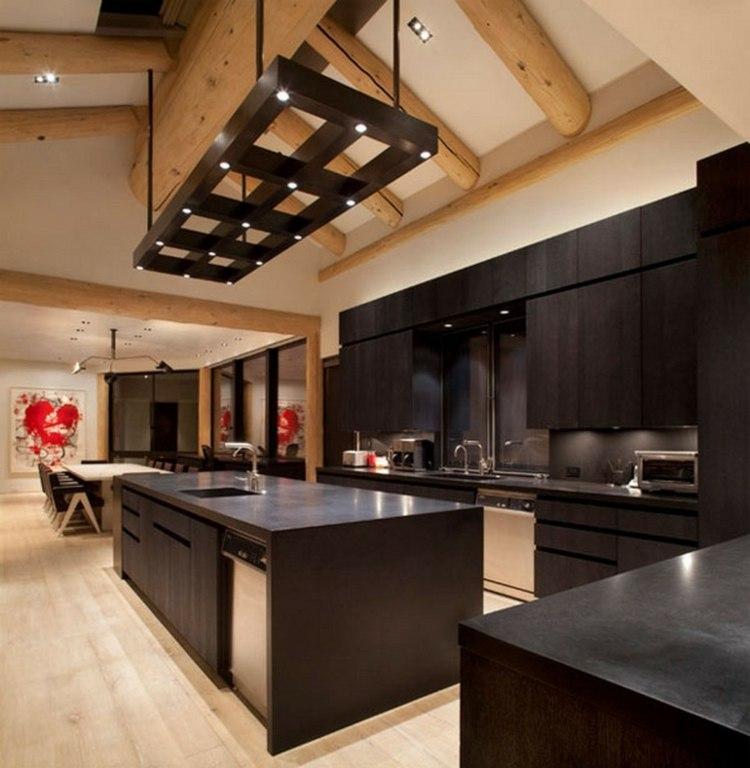 los colores cocinas diseños estantes maderas led