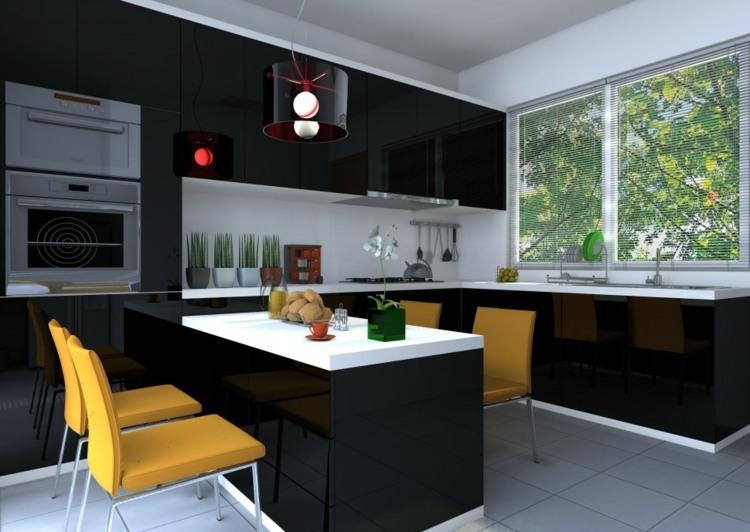 los colores cocinas diseños lamparas copas paredes amarillo