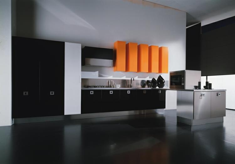 los colores cocinas diseños oscuros detalles naranja