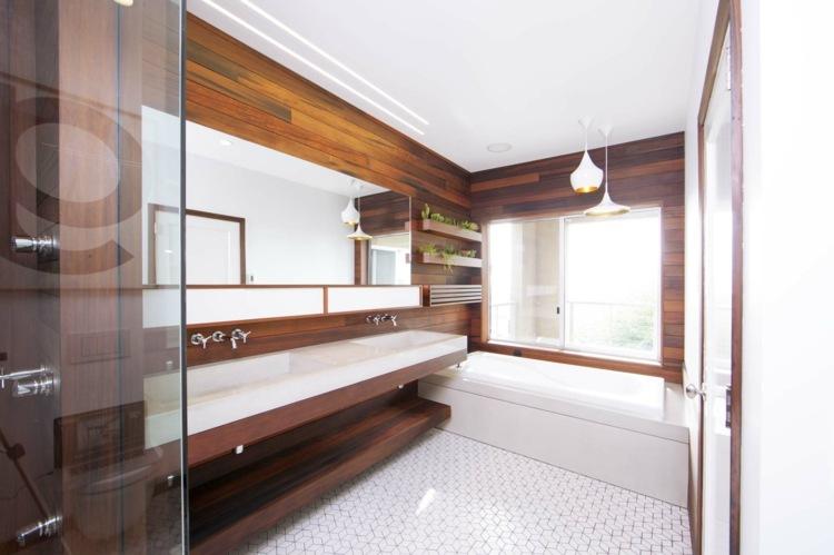 madera diseño estantes zonas baños cristales