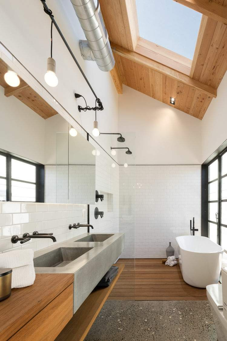 madera diseño en 50 ideas para baños acogedores. -
