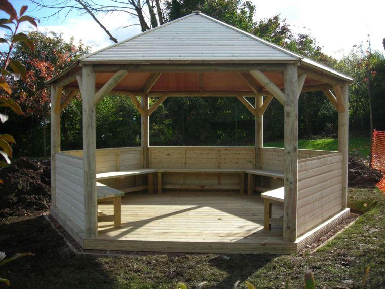 madera natural gazebo grande tejado