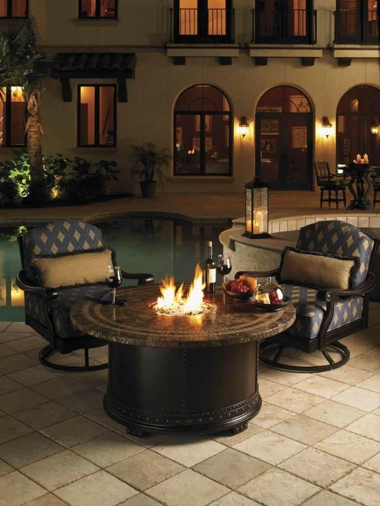 mesa fuego redonda sillones comodos ideas