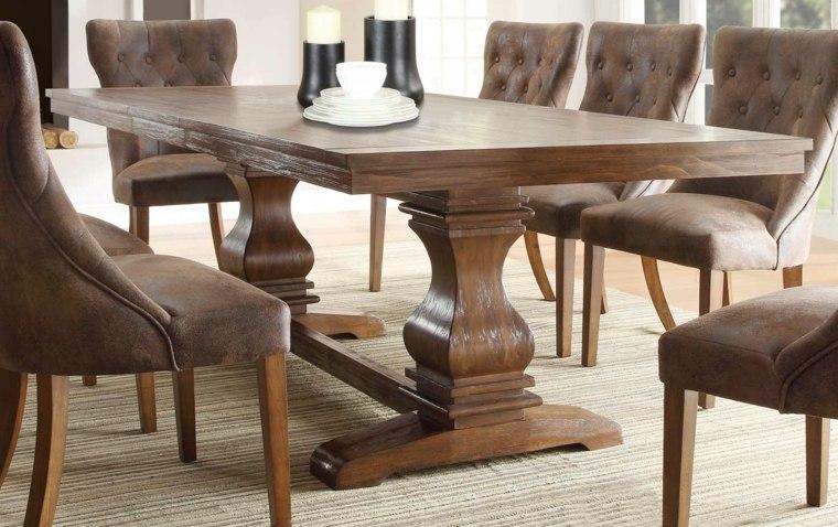 Mesas de comedor modernas de madera maciza m s de 50 ideas - Mesas redondas de madera para comedor ...