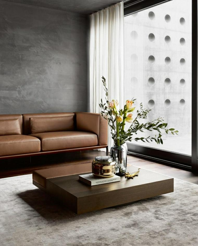 mesa madera sofa cuero pared gris ideas