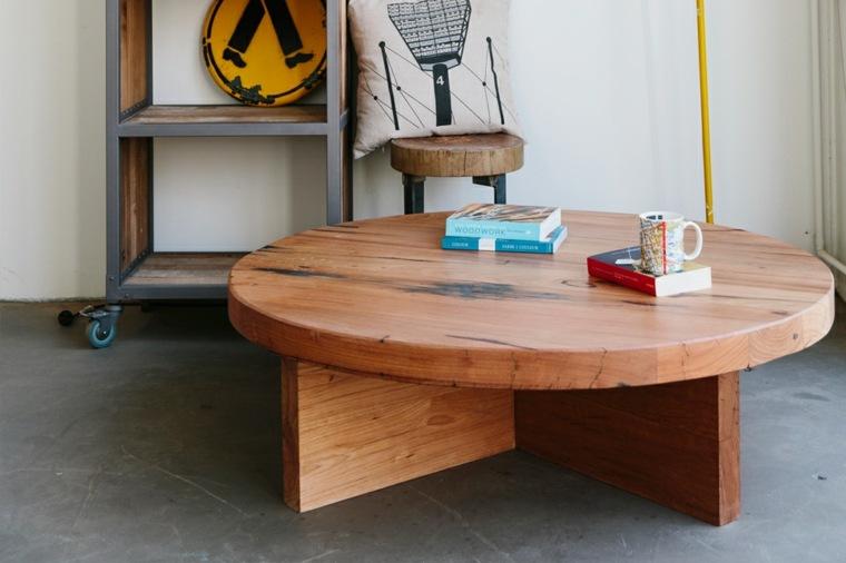 mesa redonda madera natural maciza