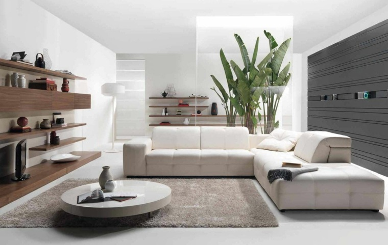 mesas cafe sofa blanco estantes madera ideas