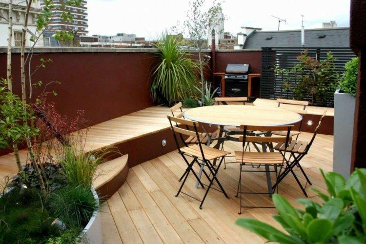 mesas madera exteriores mobiliario muro