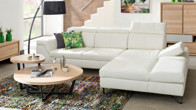 mesas redondas sofas blancas salon ideas
