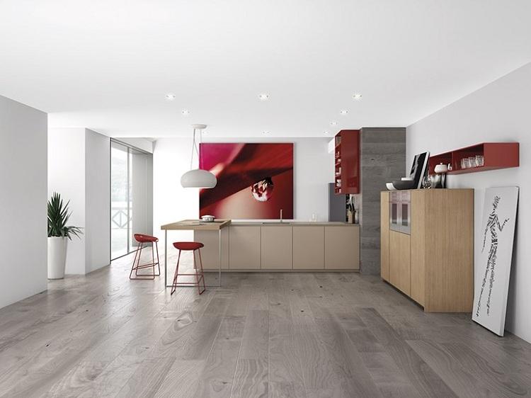 decoración de cocinas modernas cuadros rojos paredes