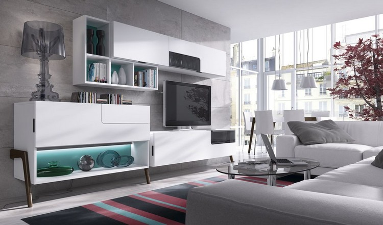 Mobiliario paredes y salones opciones funcionales con for Mobiliario salon moderno