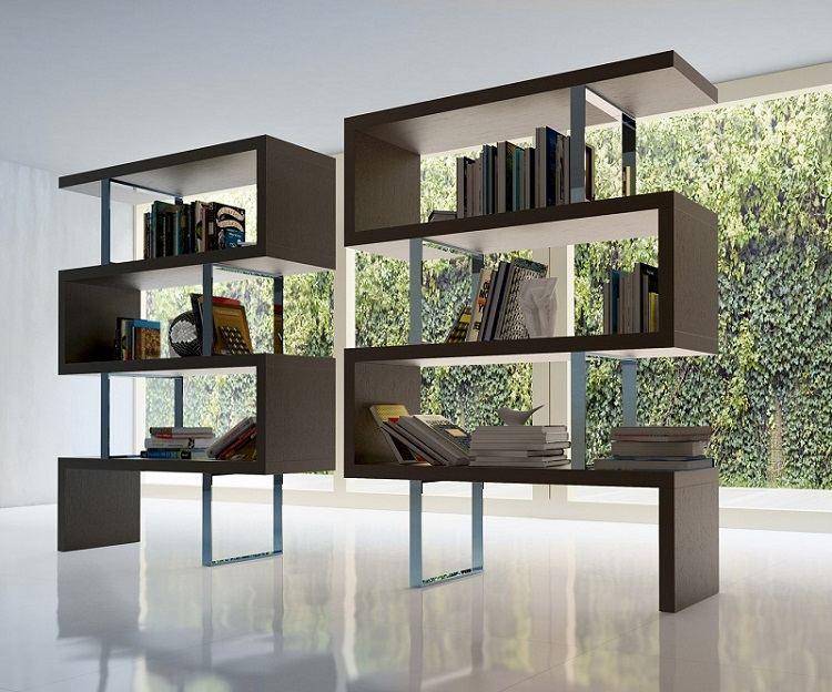 moderno estantes libreros brillo suelos metal