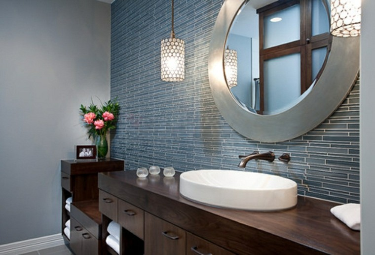 mueble baño armarios madera oscura