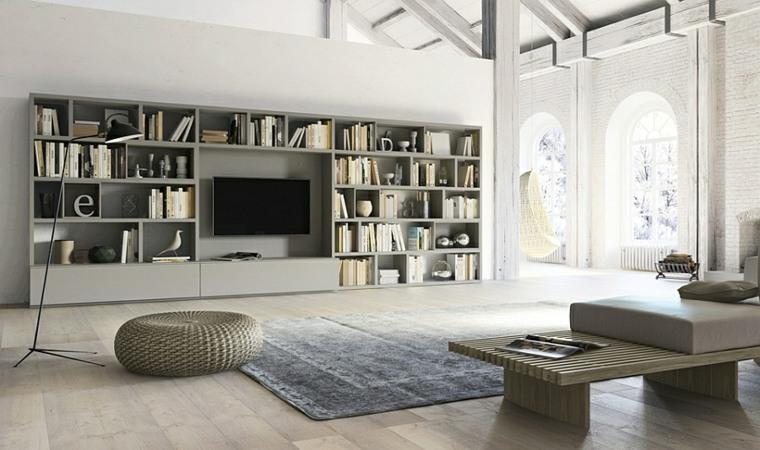 mueble con estantes color gris
