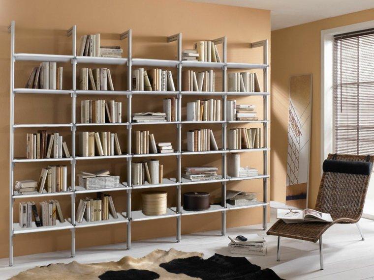 Bibliotecas grandes para salas de estar modernas - Estantes de metal ...