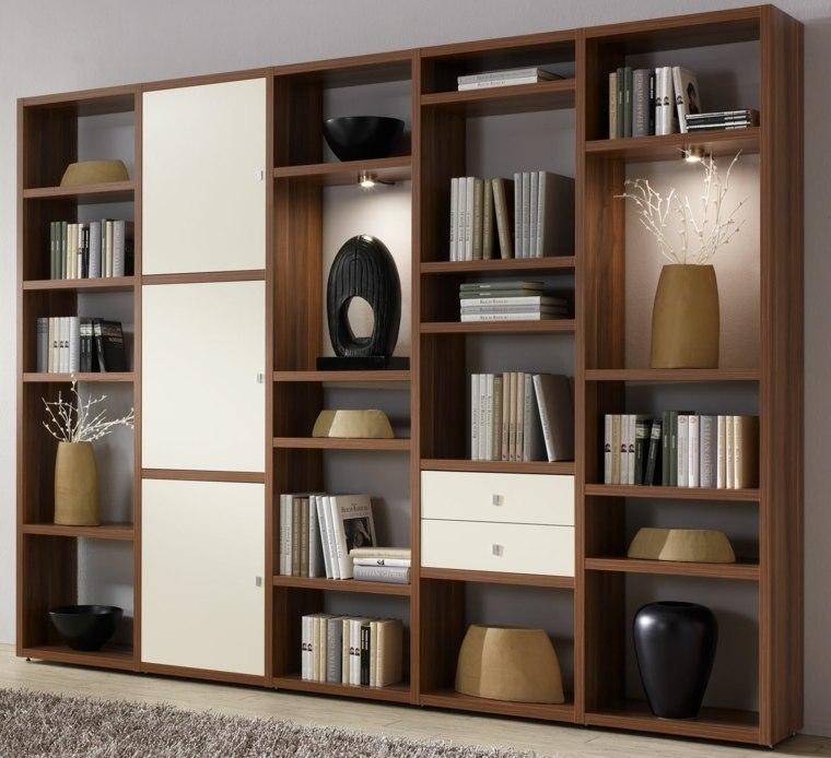 Bibliotecas grandes para salas de estar modernas - Madera para estantes ...