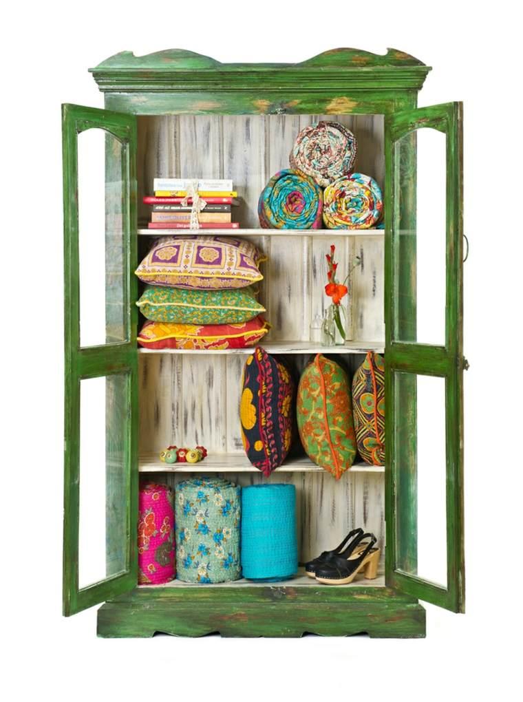 mueble estantes color verde boho