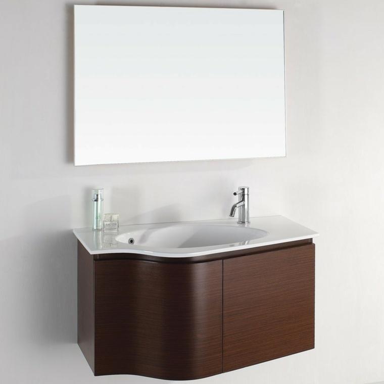mueble lavabo madera laminada oscura