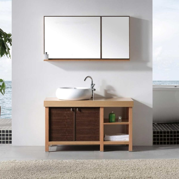 Armarios de ba o y muebles lavabo de madera 50 ideas for Mueble lavabo pedestal ikea