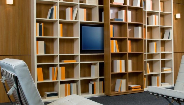 mueble moderno estantes madera laminada