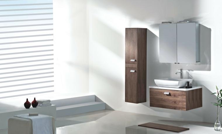 muebles baño blanco madera modernos