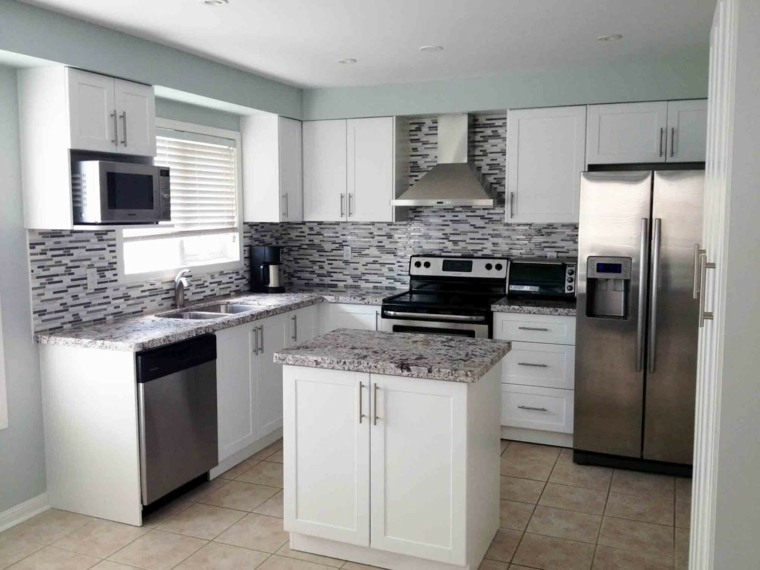 muebles blancos azulejos modernos grises
