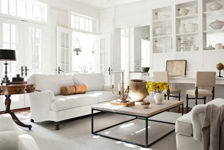 muebles blancos estantes madera salon blanco ideas