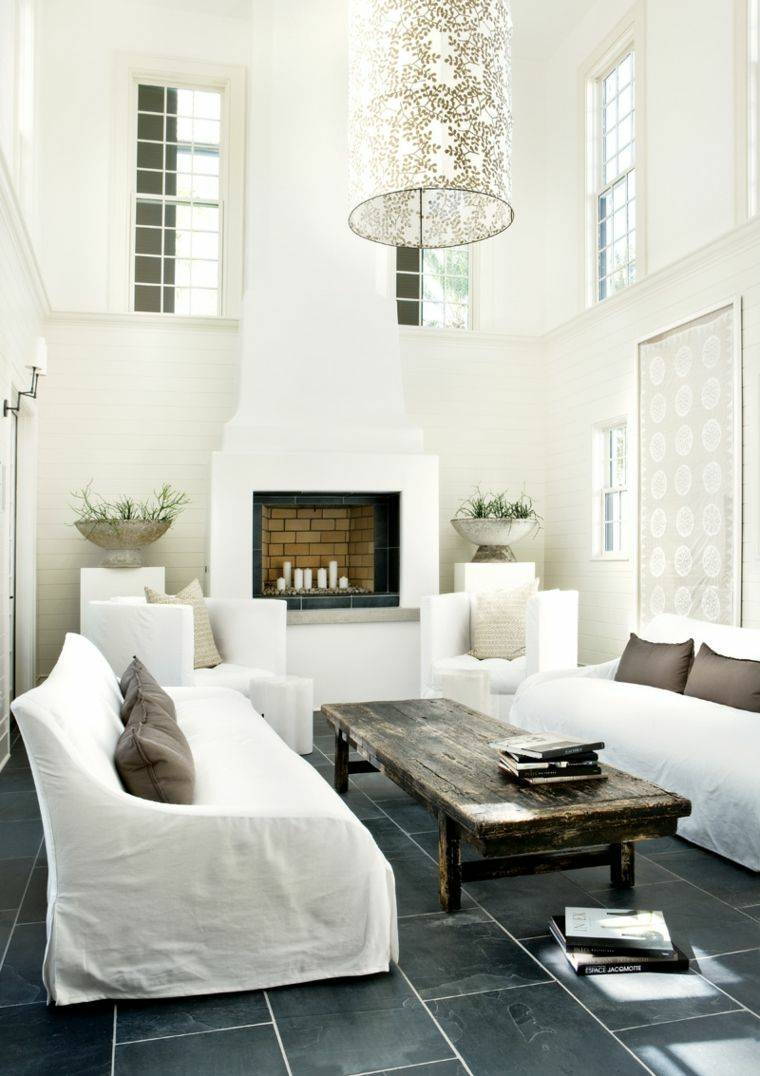 Decoracion Salon Moderno 50 Dise Os En Blanco Y Madera  # Muebles Blancos