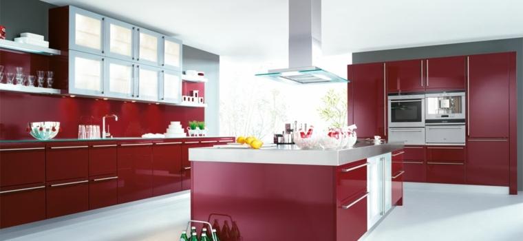 muebles cocina color rojo granate